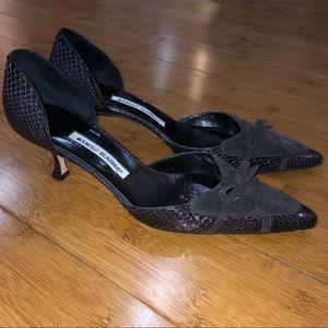 Manolo Blahnik Low Snakeskin Heels